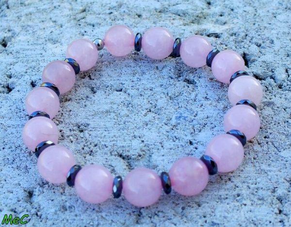 Bracelet quartz rose et hématite 1 mineraux et cristaux