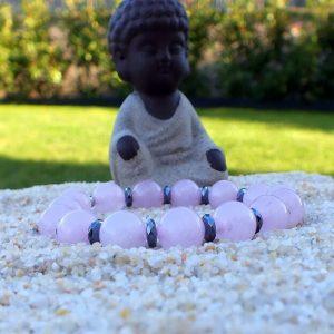 Bracelet quartz rose et hématite mineraux et cristaux