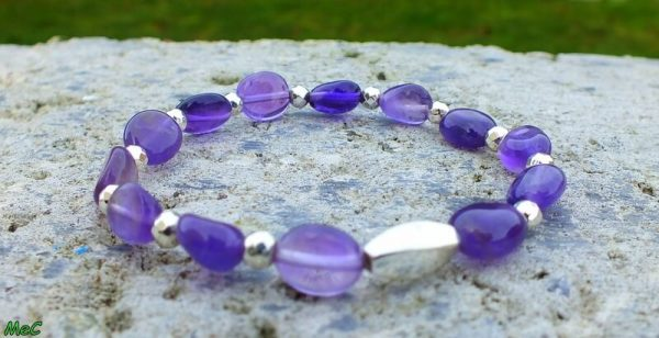 Bracelet améthyste perles argentées mineraux et cristaux