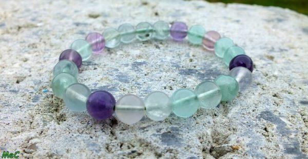 Bracelet fluorine arc en ciel mineraux et cristaux