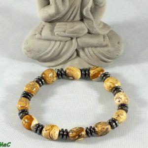 Bracelet jaspe paysage et hématite mineraux et cristaux