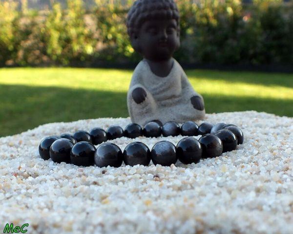 Bracelet obsidienne argentée mineraux et cristaux