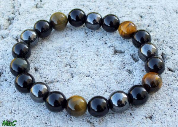 Bracelet obsidienne noire oeil de tigre mineraux et cristaux