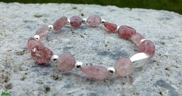 Bracelet quartz rose perles argentées mineraux et cristaux