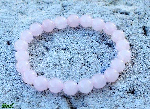 Bracelet quartz rose pierres rondes mineraux et cristaux
