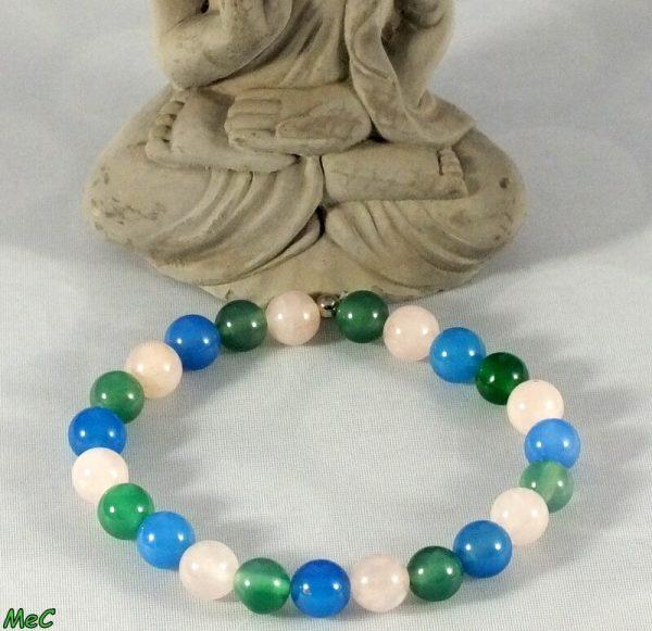 Bracelet agate bleue agate verte et quartz rose mineraux et cristaux