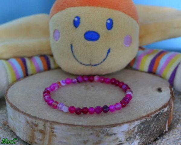 Bracelet agate rose enfant minéraux et cristaux