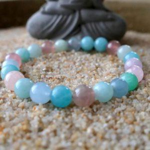 Bracelet aigue marine amazonite améthyste quartz rose mineraux et cristaux