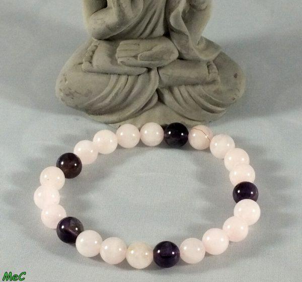 Bracelet améthyste et quartz rose mineraux et cristaux