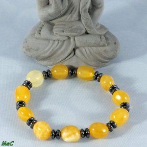 Bracelet calcite jaune et hématite mineraux et cristaux
