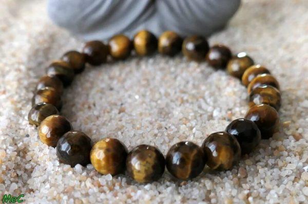 Bracelet oeil de tigre facetté 2 minéraux et cristaux