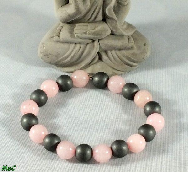 Bracelet quartz rose hématite mat mineraux et cristaux