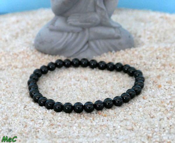 Bracelet spinelle noire 6mm minéraux et cristaux