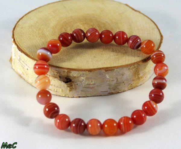 Bracelet agate rouge rubanée Minéraux et Cristaux