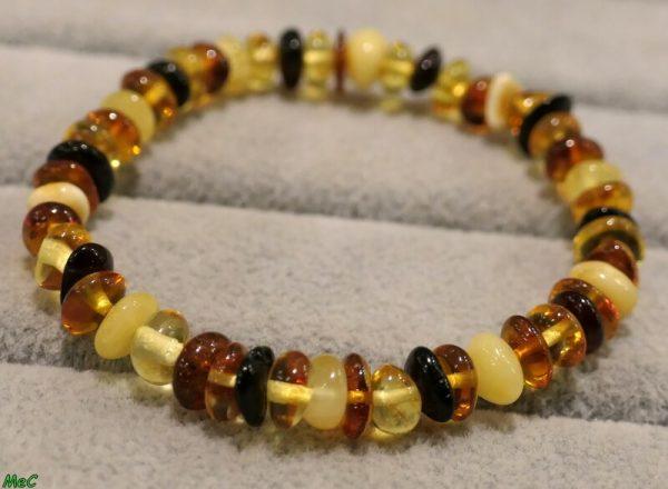 Bracelet ambre multicolore Minéraux et Cristaux