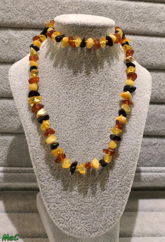 Collier ambre multicolore Minéraux et Cristaux