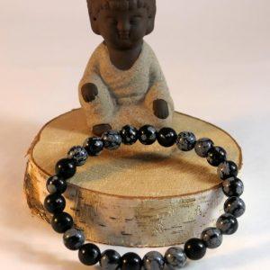 Bracelet obsidienne flocon Minéraux et Cristaux